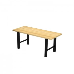 Hero communal table, dining height, solid beech top, Onyx black frame with Natural stain