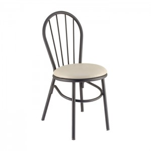 Spokeback Metal Parlor Chair with Upholstered Seat