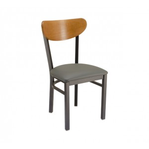Park Avenue Kidneyback Restaurant Metal Chair with Upholstered Seat