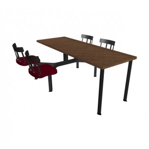 Windswept Bronze laminate table top, Country chairhead with Burgundy composite seat