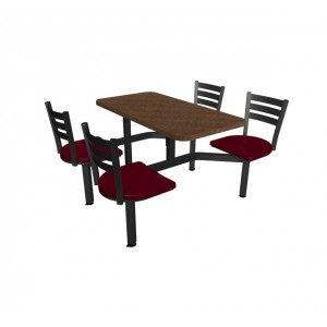 Windswept Bronze laminate table top, Quest Chairhead with cranberry seat