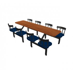 Wild Cherry laminate table top, Country chairhead with Atlantis seat
